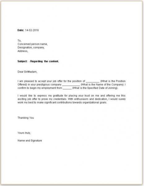 formal acceptance letter