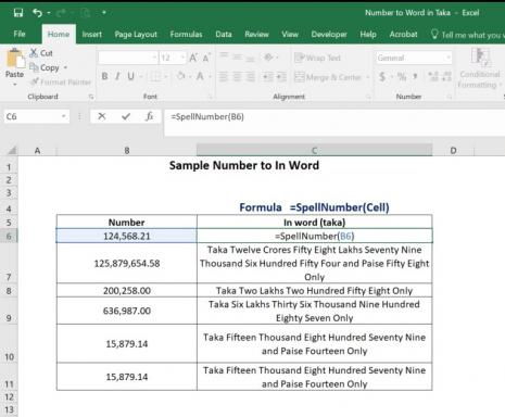 Excel Number to in word (Taka)