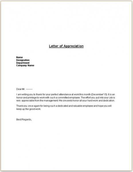 Letter of Appreciation