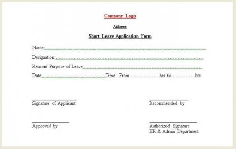 Short Leave Form  Application For Leave Form