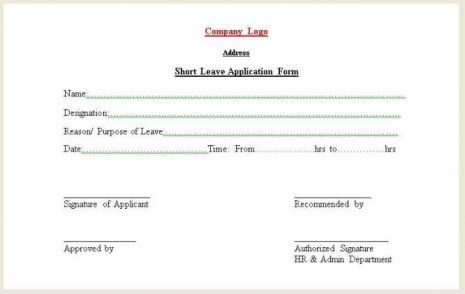 Short Leave Form  Leave Application Forms