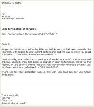 Termination Employment Letter